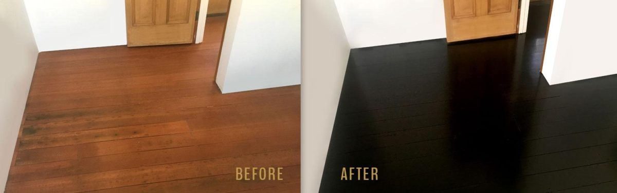Jarrah Floorboards stained black